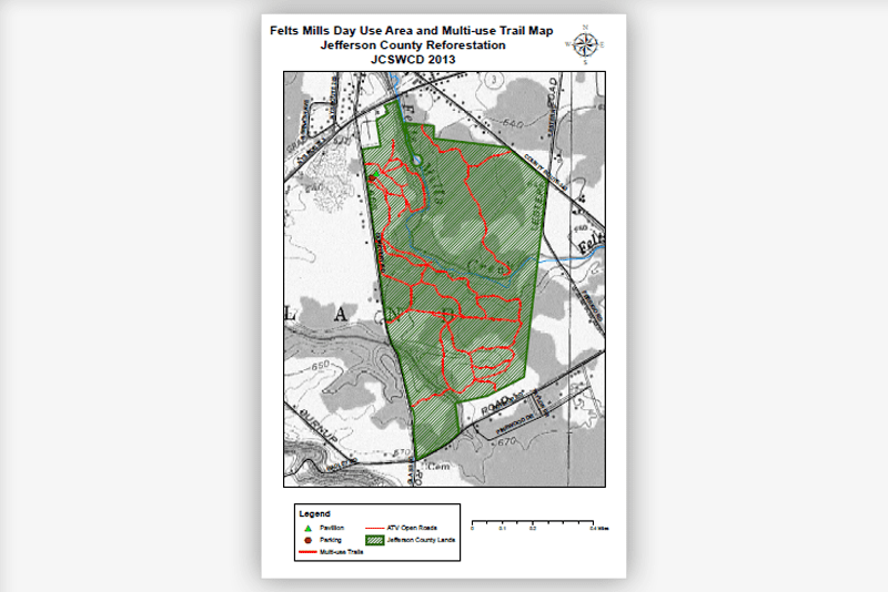 Felts Mills Day Use Area and Multi-use Trail Map